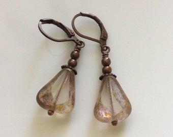 Czech Glass Earrings  Bohemian Earrings  Copper Leverback Earrings  Boho Earrings  Clear Glass Earrings  Gypsy Dangles