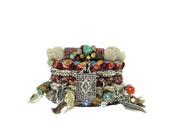 Earthy Meditation Bracelet Stack - Boho Bracelet Set - Rustic Bangles - Brown Fringed Hippie Cuff - Boho Stacking Bangles - Meditation Mat