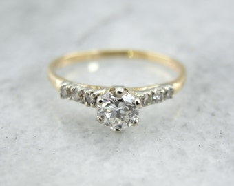 Vintage Diamond Engagement Ring in Yellow and White Gold 9PP5QQ-N