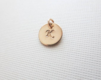 Add a Initial 14k GOLD FILLED Disc Charm for Necklace- Personalized Custom Disc-Hand Stamped Disc-Monogram Disc