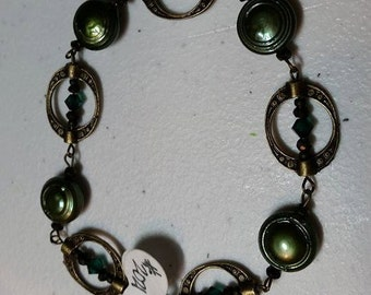 Bracelet Bronze Phi Green Freshwater Button Pearl #316