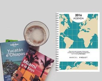 Travel Theme Agenda 2016 - Weekly Planner - 6 month - June/December