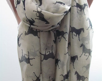 Horse Scarf Shawl Animal Scarf Winter Scarf Infinity Scarf Circle Scarf Women Fashion Accessories Holiday Christmas Gift For Her For Women