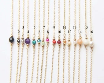 Tiny Gem stone Dainty Bracelet- Sterling silver and Gold filled Personalized Gift EB009
