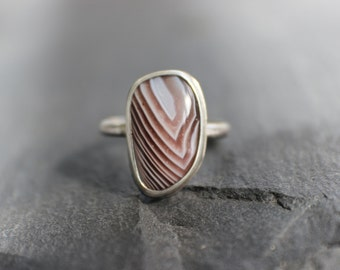 sterling silver botswana agate ring - metalsmith artisan jewelry - natural stone banded agate ring - size seven earthy organic ring