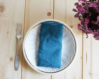 Set of 2 linen napkins, Linen napkins, Teal blue napkins, Stone washed napkins, Eco friendly, Wedding napkins, French linen, Natural linen