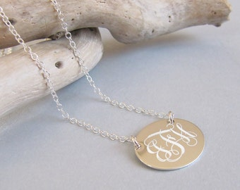 Sterling Silver Oval Initial Necklace, 20x16mm Initial Pendant, Personalized Oval Disc, Silver Monogram Jewelry, Silver Necklace Engraved