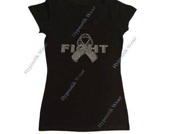 "Women's Rhinestone/Rhinestud T-Shirt "" White Fight Child Cancer Ribbon "" in S, M, L, 1x, 2x, 3x"