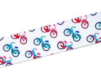 "1.5"" Wide Pink and Blue Bicycles Grosgrain Ribbon by the Yard"