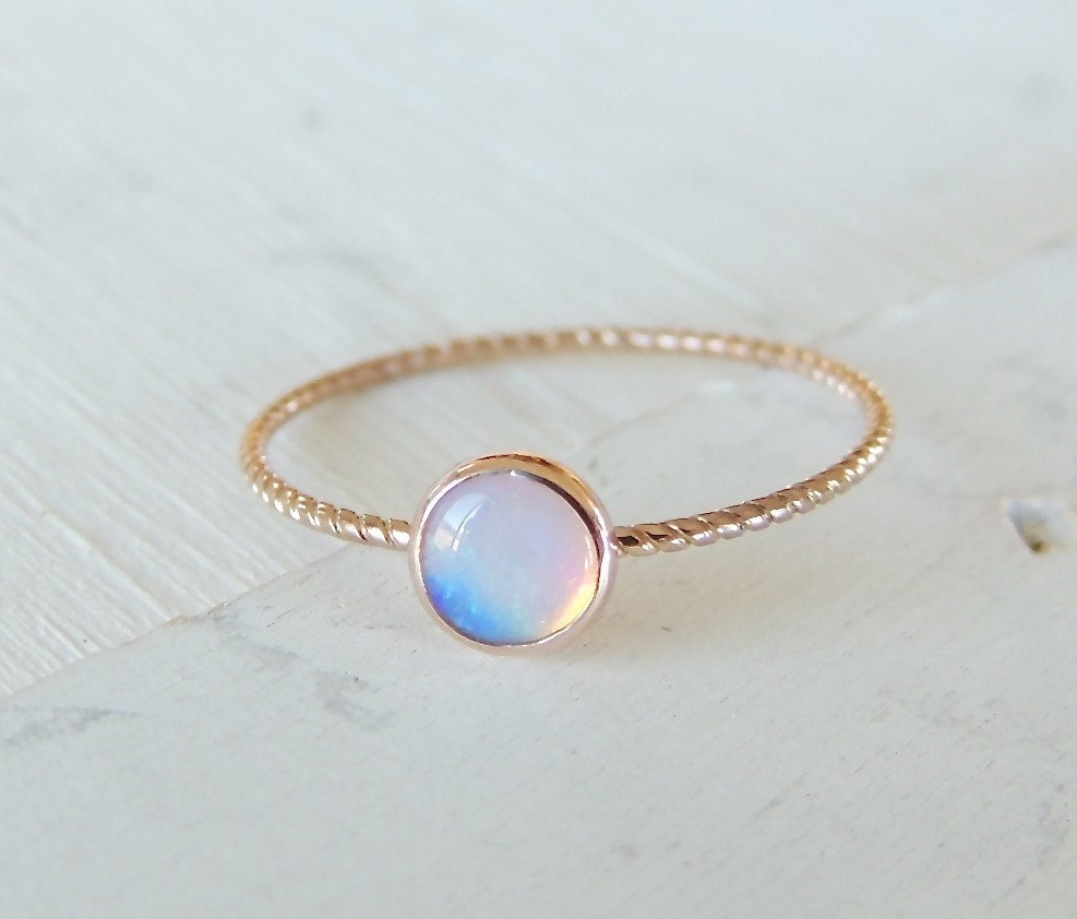 opal ring opal gold ring glowing opal ring 14k gold by