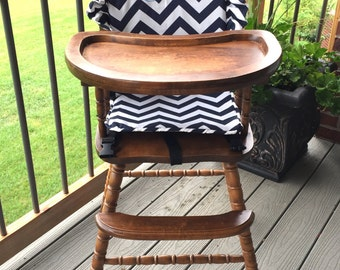 Superb Navy Chevron High Chair Cushion. High Chair Pad. High Chair Cover. Wooden  Highchairs