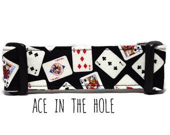 Boy Dog Collar, Girl Dog Collar, Playing Cards Dog Collar, Poker Dog Collar, Ace in the Hole (Standard Collar, Metal Buckle, or Martingale)