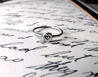 Silver Heart Ring Love Ring Promise Ring Heart Ring