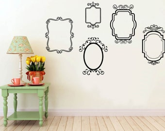 Wall Vinyl Decal Five Decorative Vintage Frames
