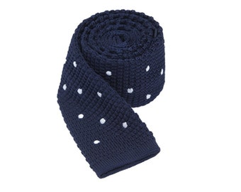 Polka Dot Tie.Navy Knitted Tie with Dots.Mens Knitted Tie.Skinny Tie.Wedding Necktie