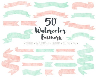 Watercolor Banners Clip Art. Hand Drawn Doodle Ribbon Banners. Pink, Mint Banners & Corners. Pastel Watercolor Banner Clip Art. Pink Ribbons