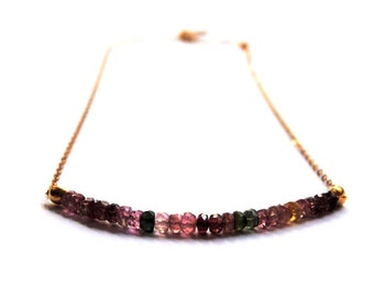 Tourmaline necklace, Watermelon Tourmaline necklace, 14kt gold chain, Tourmaline necklace, Gemstone necklace