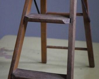 Vintage Wooden Step Stool Folding Ladder, Octagon Seat, Vintage Stool, Vintage Step Stool, Vintage Ladder, Octagon, Rustic,