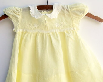 1950s Yellow Organdy Baby Dress, Baby Clothes, 12 Months