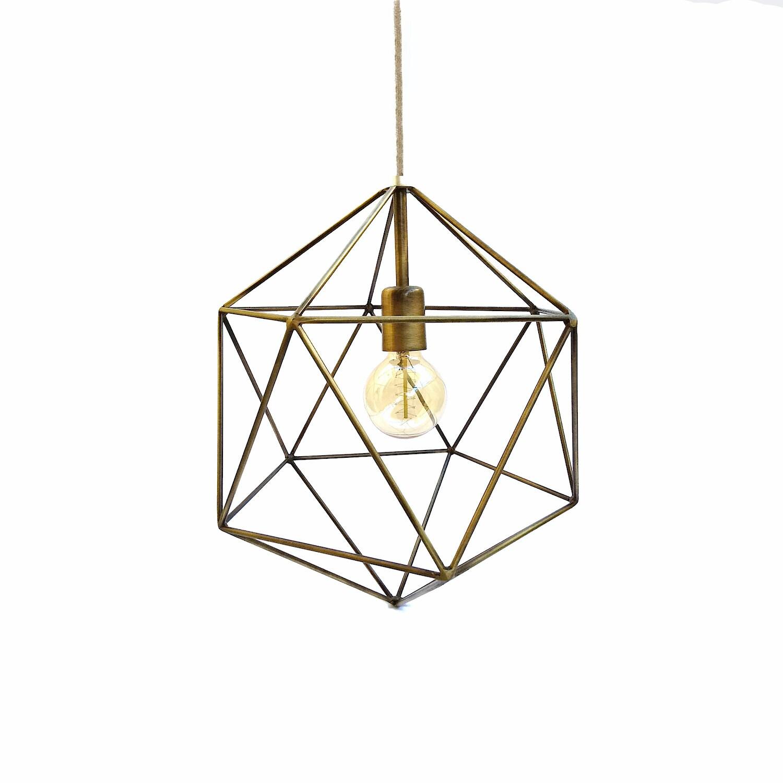 Bronze Geometric Pendant Light Handmade Hanging Light Cage