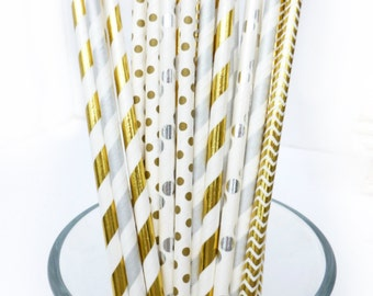 Gold and Silver Paper Straws, Graduation Party Decor, Party Straws, Shower Decor, Gold Party Decor, Metallic Party Straws, Engagement Party