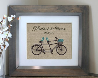 Unique Wedding Gift | Engagement Gift | Wall Art | Vintage Wedding Decor | Gift for Couples | Bicycle for Two Bridal Shower | Tandem Bicycle