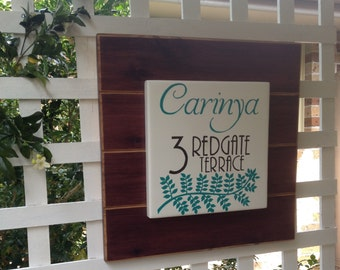 Custom made (larger) address sign/handpainted/plaque /housewarming gift /personalized sign  /personalised /cypress pine /teal /home decor