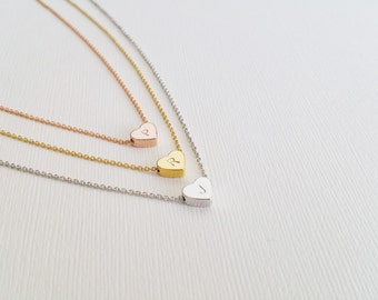 Dainty Heart Initial Necklace, Dainty Heart Necklace, Bridesmaid Gift, Birthday Gift, Wedding