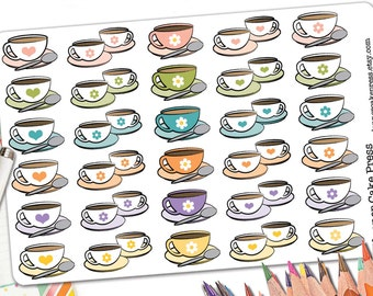 30 Heart Coffee Cup Stickers | Coffee Planner Stickers | Coffee Stickers | Coffee Date | Saucer and Spoon | Fits Erin Condren Planners More