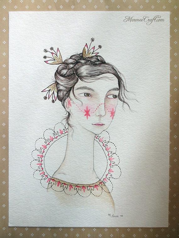 "Original folk watercolour painting, ""Dreamtime"""