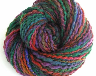 Handspun Bulky Weight Yarn Hand Dyed Yarn Super Bulky Wool Yarn 163 yards DIY Chunky Jewel Colors Scarf Yarn OOAK - Autumn Color
