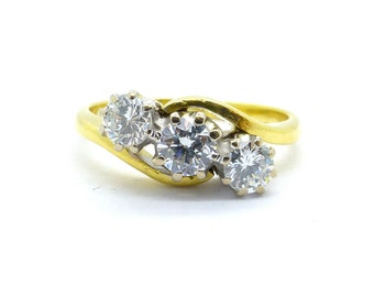 Vintage Diamond engagement ring 3 Three stone Trilogy crossover bypass English Estate ring 18ct/18k wedding Anniversary 0.50 carat FREE SHIP