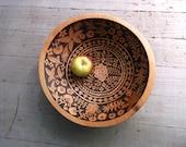 RESERVED for Kathleen- 11 1/2 inch beech serving salad bowl, artist decorated wood burned ginkgo blossom ooak design
