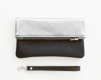 Silver Leather Clutch, Metallic Silver Fold Over Wristlet, Silver Wedding Clutch, Evening Clutch, Silver Bridal Clutch. Fold Over Clutch