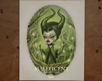 Maleficent - Limited Edition 3/100 - 8x10 Fine Art Print - signed, numbered, dated - lowbrow popsurreal art by KarolinFelix - unframed