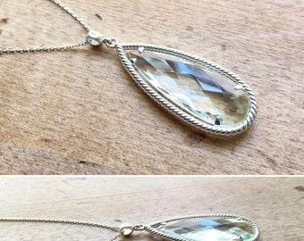 Green Quartz Tear Drop Pendant Sterling Silver Necklace