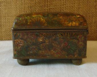 VINTAGE ENAMEL CLOISONNE Box Turquoise Blue Enamel Interior Brass Box Antique Asian Enamel Box Jewelry Box Stash Box Collectable Box