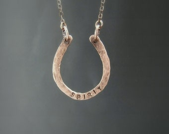 Personalized horseshoe necklace, custom hand stamped copper equestrian jewelry, handstamped birthday gift for horse lovers
