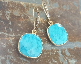 Turquoise Earrings, Gold Turquoise Earrings, Gold Turquoise Dangle Earrings, Turquoise Dangle Earrings, Turquoise Earrings Gold