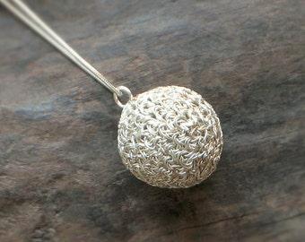 Sterling SILVER BALL PENDANT Crochet Wire > Wedding & Anniversary Charm Necklace [Balle Collier Charme argent—Bola Colgante ganchillo plata]