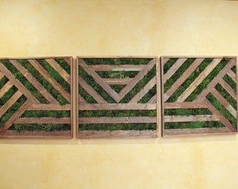 Beau 6ft Reclaimed Wood U0026 Preserved Moss Triptych Art   Large Wall Decor   Green  Wall