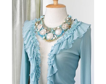 Bib Necklace Lucky charms Leather Choker Beads  Mermaid Embroidery Statement Fish Sea Collar Chunky Turquoise Blue Pearls Net Woman Gift