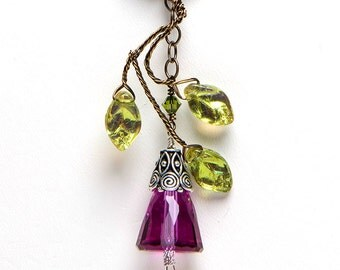 Green and Fuchsia Whimsical Pendant Necklace, Fuchsia Green Swarovski Crystal Necklace, Vintage Style Necklace, Boho Jewelry, Fairy Necklace