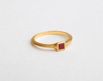 Square Ruby Ring, Princess Cut Stack Ring, 18k Gold Ruby Ring,Square Solitaire Ring,Women's Ruby Ring, Simple Ruby Ring, Berman