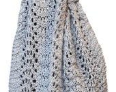Hand Knit Scarf - Pale Silver Grey Kitten Cashmere Silk Feather Fan Lace