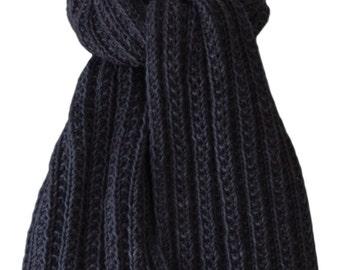 Hand Knit Scarf - Charcoal Grey Keji Cashmere Trail Rib