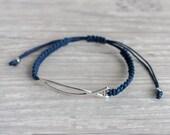 Mens bracelet with sign of fish Blue macrame bracelet Christian jewelry Friendship bracelet handmade Woven bracelet Stackable bracelet