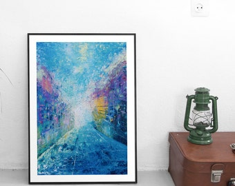 New York City painting NYC painting New York painting New York art New York City art Gift Manhattan Cityscape Blue Fine art painting
