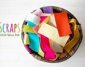 100% Wool Felt Scraps 5oz. - Merino Wool Felt Scraps - 5 Ounces of Multi Color Wool Felt Scrap Pieces - Remnants Grab Bag 5 Onces