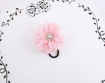 Pink Hair Tie, Pink Ponytail Holder, Rhinestone Flower Clip, Pink Flower Clip, Pink Hair Elastic, Bridesmaid Clip, Gift Under 10